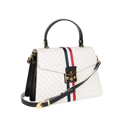 7af606fa41 Τσάντα Ώμου-Χειρός Με Ρίγα La Tour Eiffel Logo-Δέρμα 171033 Λευκή-Μαύρη