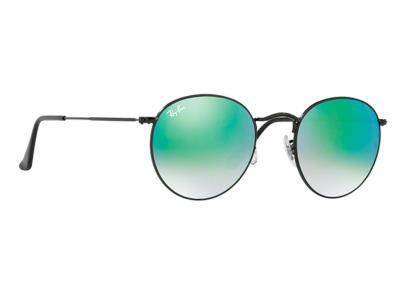Γυαλιά ηλίου Ray-Ban Round Metal RB 3447 002 4J Μαύρο Πράσινος Ντεγκραντέ  Καθρέφ 7b94874768d