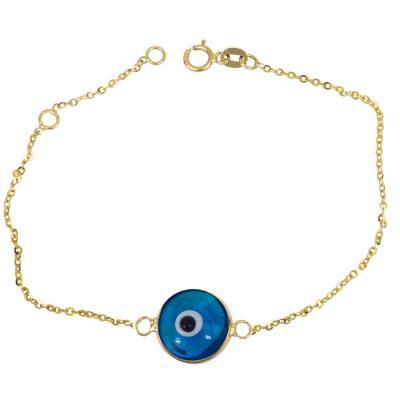 Γυναικείο βραχιόλι με μπλε μάτι Κ14 026227 026227 Χρυσός 14 Καράτια f9544bb1888