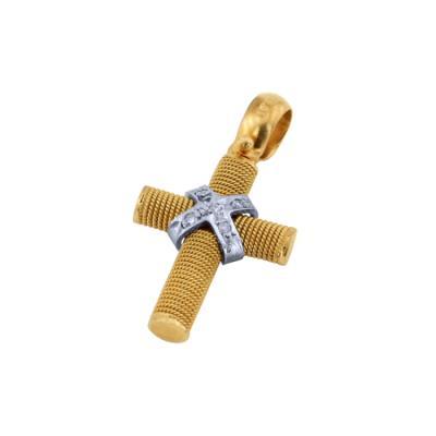 Σταυρός Κ18 σε χρυσό και λευκόχρυσο με brilliant STBR 075 69c3d300e42