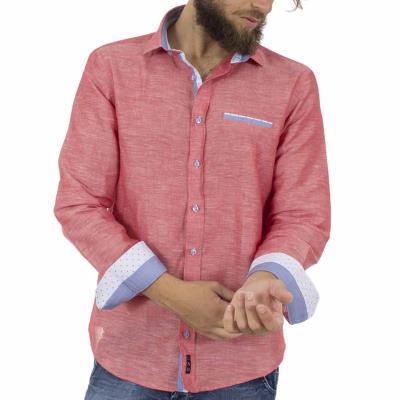 d9192e0423e7 Ανδρικό Λινό Μακρυμάνικο Πουκάμισο Slim Fit CND Shirts 2650-1 Ροζ