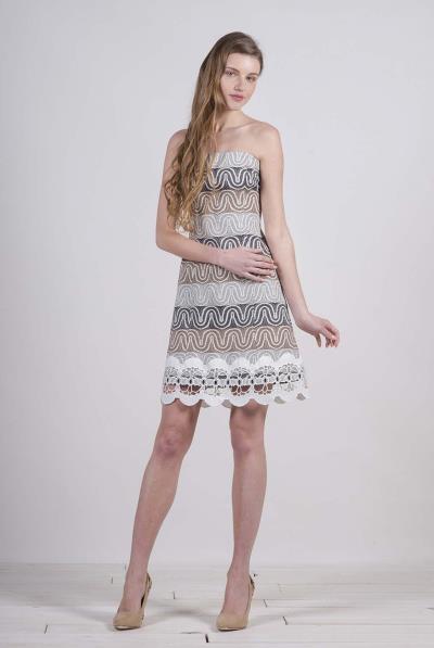 913a87dac5d5 Φόρεμα στράπλες μπροκάρ με τελείωμα δαντέλα - 17191