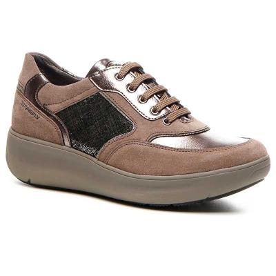 f9b673d409 STONEFLY ROCK 1 VELOUR TEAK BROWN Γυναικείο sneaker Ανατομικό πάτημα Χρώμα  καφέ