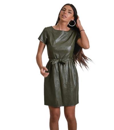 Χακί φόρεμα δερματίνη με ζώνη στην μέση 861bfd43c1b