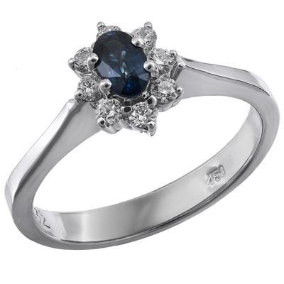 Λευκόχρυση ροζέτα δαχτυλίδι Κ18 με ζαφείρι 020446 020446 Χρυσός 18 Καράτια b3fce676192