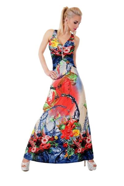 26f0cda07a20 30879 SD Μάξι φόρεμα με χιαστί πλάτη - μπλέ