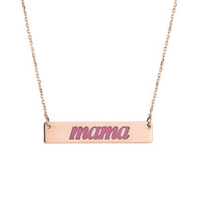Χρυσό κολιέ 9 καράτια mama με ροζ σμάλτο. 2aecd54c5f0