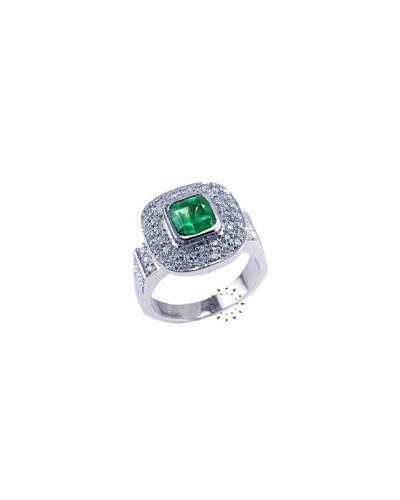 Δαχτυλίδι Λευκόχρυσο 18 καράτια με Διαμάντια και Σμαράγδι d0d1639f091