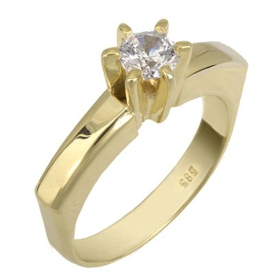 Swarovski μονόπετρο χρυσό Κ14 με γωνίες 025519 025519 Χρυσός 14 Καράτια 3005ba7455f