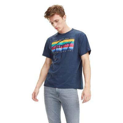 2d31cd0f728 Tommy Jeans TJM TOMMY RAINBOW BOX TEE DM0DM06079-002 - BLACK IRIS
