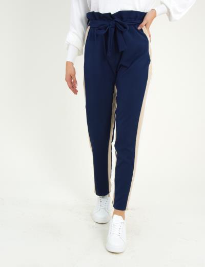 a7bf650f455f Γυναικείο μπλε υφασμάτινο παντελόνι με διπλές ρίγες 8309176C