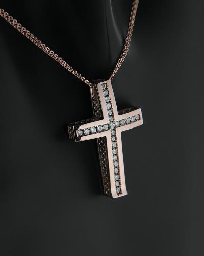 Σταυρός με αλυσίδα ροζ χρυσός Κ14 με ζιργκόν af97f758e35