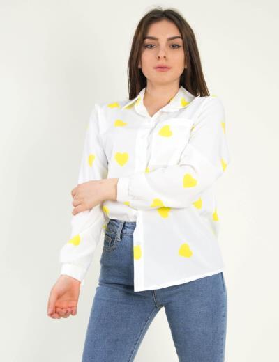 618d4057fbba Γυναικείο λευκό πουκάμισο πράσινες καρδιές 190958L
