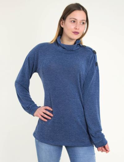 Γυναικεία μπλε μακριά μάλλινη μπλούζα Benissimo 39517 d6eee850ebd