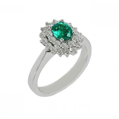 Δαχτυλίδι Κ18 λευκός χρυσός με διαμάντια και Σμαράγδι 005542 96611398364