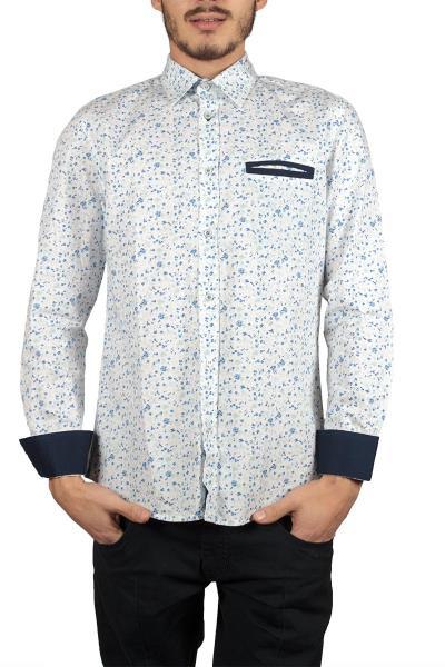 7c092d610cca Ανδρικό πουκάμισο Missone λευκό με μπλέ λουλούδια - ms-5223