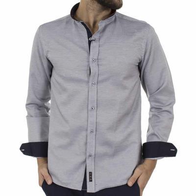 b43a5c4a737b Ανδρικό Μάο Μακρυμάνικο Πουκάμισο Slim Fit CND Shirts 3550-6 Γκρι