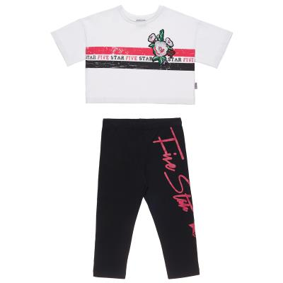 099c2a1105e Σετ Five Star μπλούζα με ρίγες και κολάν με επιγραφή (6-16 ετών) 00970427  ΛΕΥΚΟ
