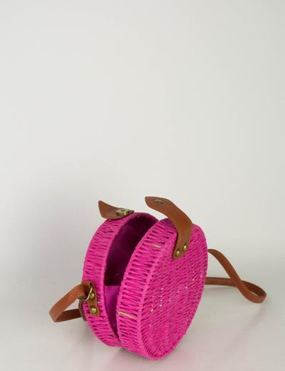 1ad928a582 Γυναικείο φούξια στρογγυλό τσάντακι ψάθινο MB018F