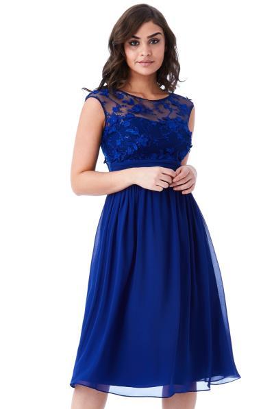 95cb5648a557 αέρινο φόρεμα δαντέλα 3d floral midi royal blue