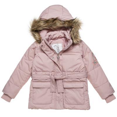 Μπουφάν με γούνα στην κουκούλα με ζώνη και patch με στρας (Κορίτσι 6-14  ετών) 00 94e188b3790