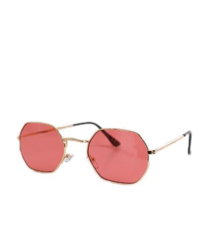 ddc2eb3e13 Γυαλιά ηλίου με πολύγωνο σκελετό και σκούρο-ροζ φακό