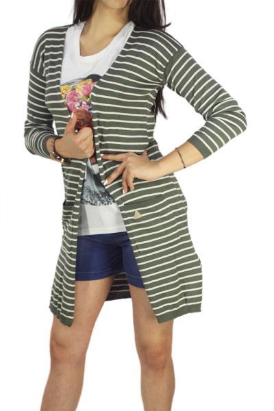 b00ed984e129 Agel Knitwear μακριά πλεκτή ζακέτα ριγέ χακί - s16634