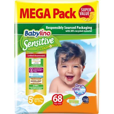 d68c699d71c Πάνες Babylino Sensitive No5+ (13-27Kg) Mega Pack 68τμχ