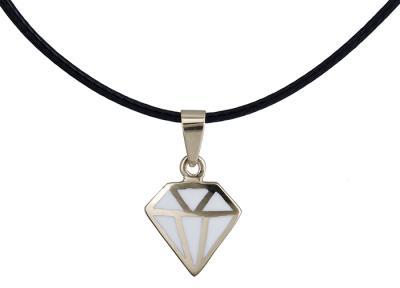 Κολιέ διαμάντι με λευκό σμάλτο Κ14 020149 020149 Χρυσός 14 Καράτια 1ed1915a629