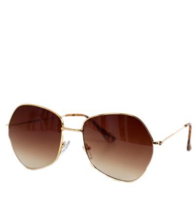 1261185315 Γυαλιά ηλίου πολύγωνα με καφέ φακό και χρυσό σκελετό