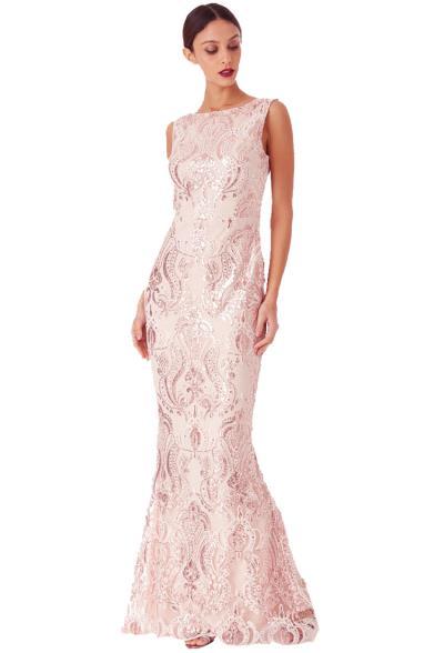 bridal φόρεμα pailletes oriental chic σε baby pink 17e6ba95ee9