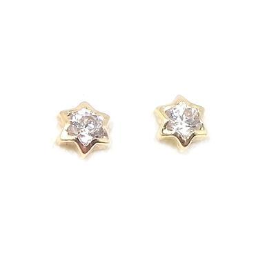 Χρυσά σκουλαρίκια αστέρια με ζιργκόν Κ14 84350275a94