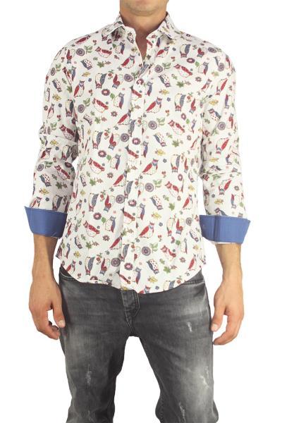 Missone ανδρικό πουκάμισο λευκό με κουκουβάγιες - 944-wh-owl 158b58bab3c