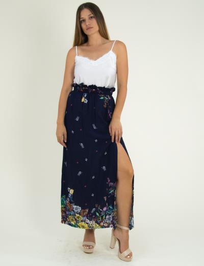 4a0c07299af7 Γυναικεία μπλε maxi μακριά φούστα Benissimo φλοράλ 17685G