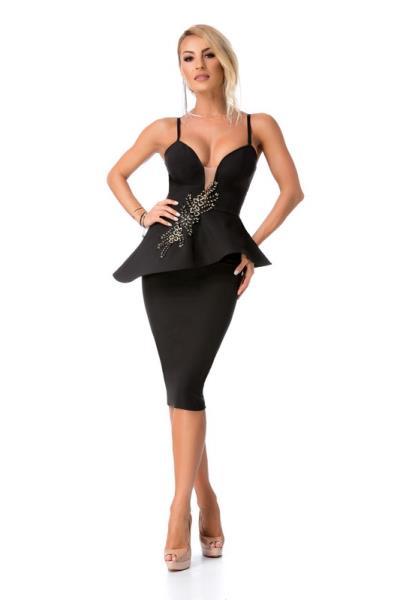 07ea90429aca 9274 RO Κομψό μίντι φόρεμα με κέντημα - Μαύρο