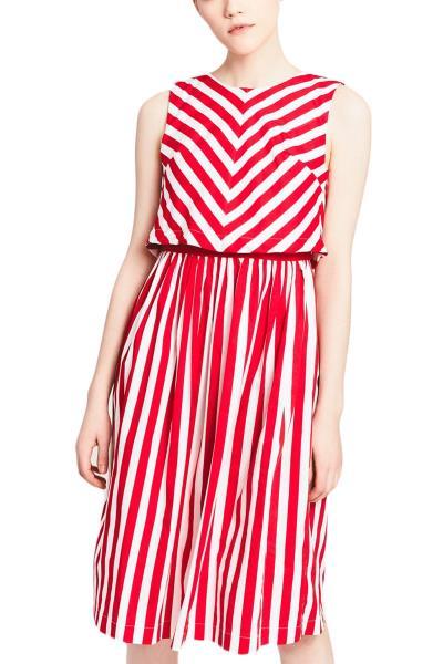 903df958f4d0 Migle + me αμάνικο φόρεμα ριγέ λευκό-κόκκινο - la-332