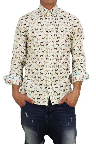 ae0b261e6478 Missone ανδρικό πουκάμισο dogs print - 944-40