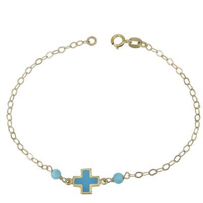 Βραχιόλι Κ14 με μπλε σταυρουδάκι 029632 029632 Χρυσός 14 Καράτια 6e68809cdc0