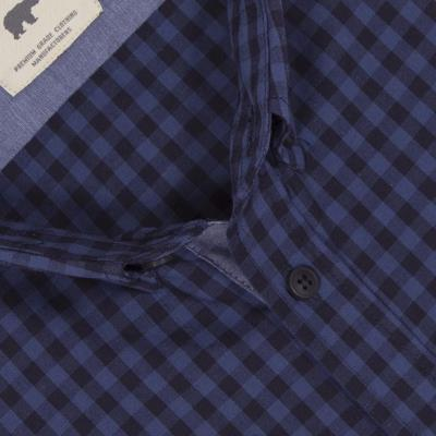 76c42bfd348d Ανδρικό Καρό Μακρυμάνικο Πουκάμισο Regular Fit DOUBLE GS-456 Μπλε