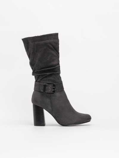 3844f1f3dce Suede μπότα με χοντρό τακούνι και ζωνάκι