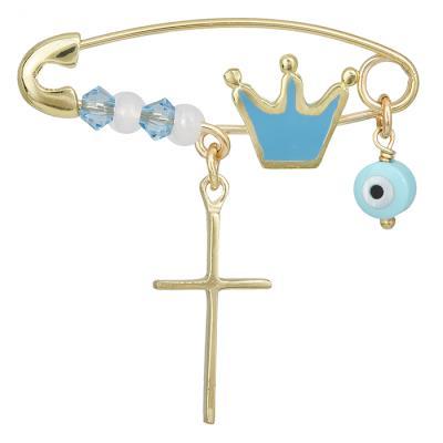 Παιδική παραμάνα Κ9 με κορώνα μπλε 028253 028253 Χρυσός 9 Καράτια 37ce4581abc