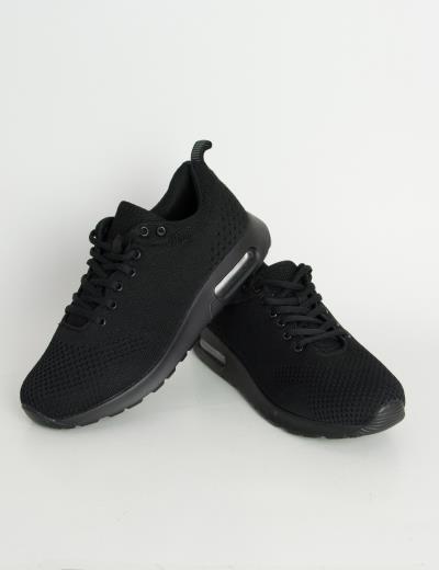 281095b9dbfb Ανδρικά μαύρα αθλητικά παπούτσια με αερόσολα FT128