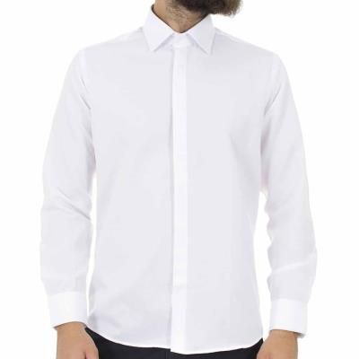1f1cfba57783 Ανδρικό Μακρυμάνικο Πουκάμισο Slim Fit CND Shirts 1001-1 Λευκό