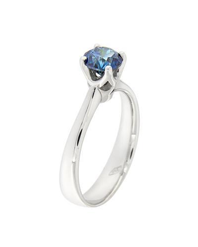 Δαχτυλίδι μονόπετρο λευκόχρυσο Κ18 με μπλε Διαμάντι 37af3561c39