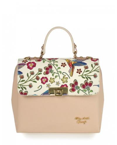 Τσάντα χειρός veta nude σε συνδυασμό με μπεζ floral μοτίβο στο καπάκι ( Elizabeth 96b02dec922