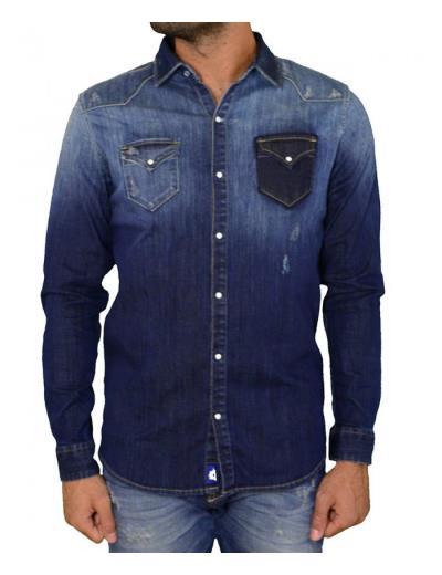fd9c83a8aad2 Ανδρικό τζιν πουκάμισο Cosi μπλε 50LARGO1