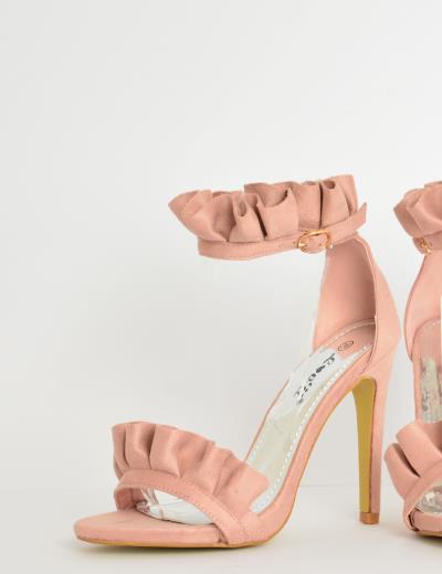 Γυναικεία πέδιλα ψηλοτάκουνα σουέντ με βολάν ροζ FB20 2d17afc12ea