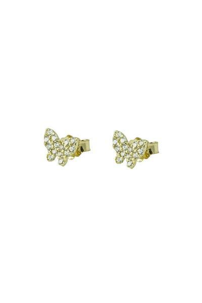 Χρυσά Παιδικά Σκουλαρίκια Κ14 Πεταλούδα με Πέτρες (NKJ) - 1207 458caaa3994
