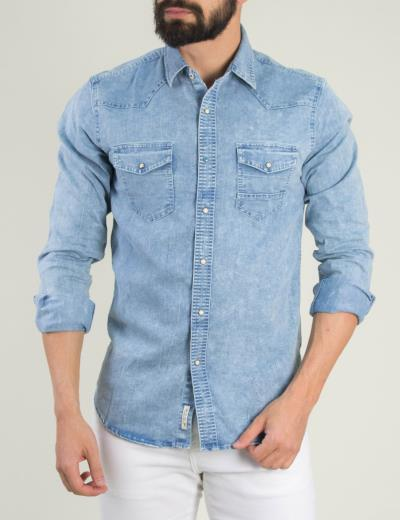 5d3c389b6162 Ανδρικό χλώριο τζιν πουκάμισο τσεπάκια 5510