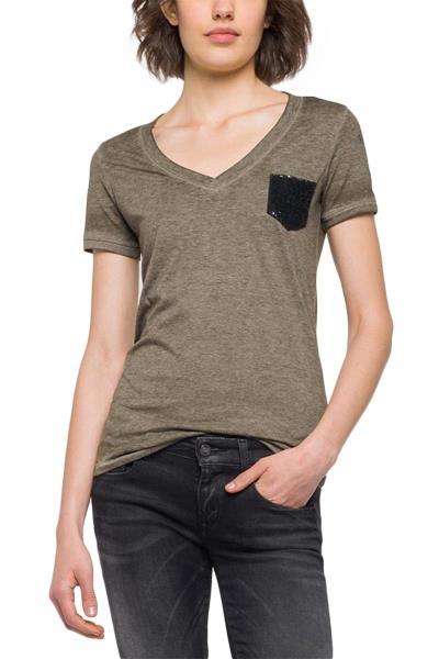 Replay t-shirt σκούρο λαδί με πούλιες - w3952b-000-22060g-234 a6ddad609d0